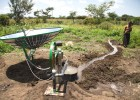 An Ethiopian farmer uses a prototype of International Development Enterprises' Clean Irrigation System.
