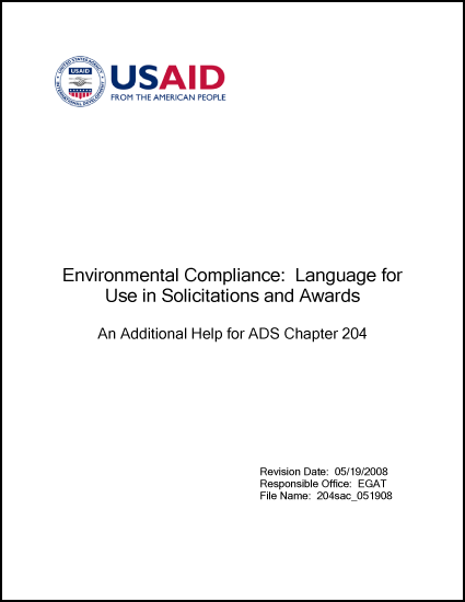 Environmental Compliance: Language for Use in Solicitations and Awards