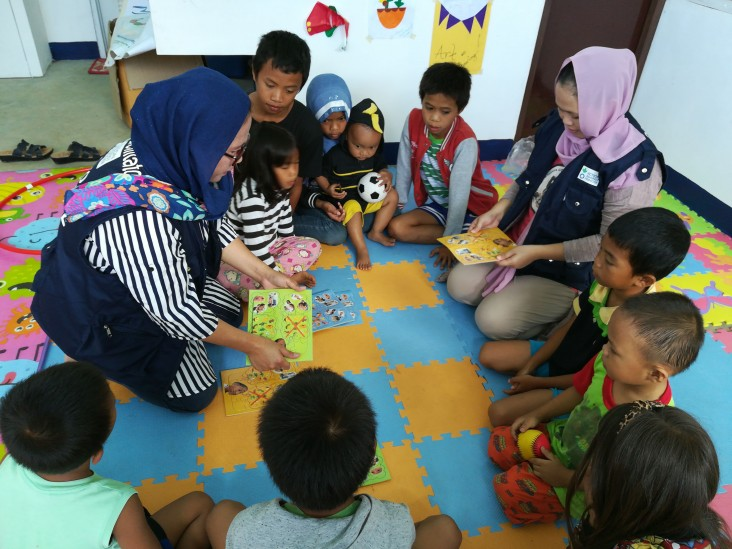 Safe spaces for children who were relocated after being displaced by the Marawi siege.