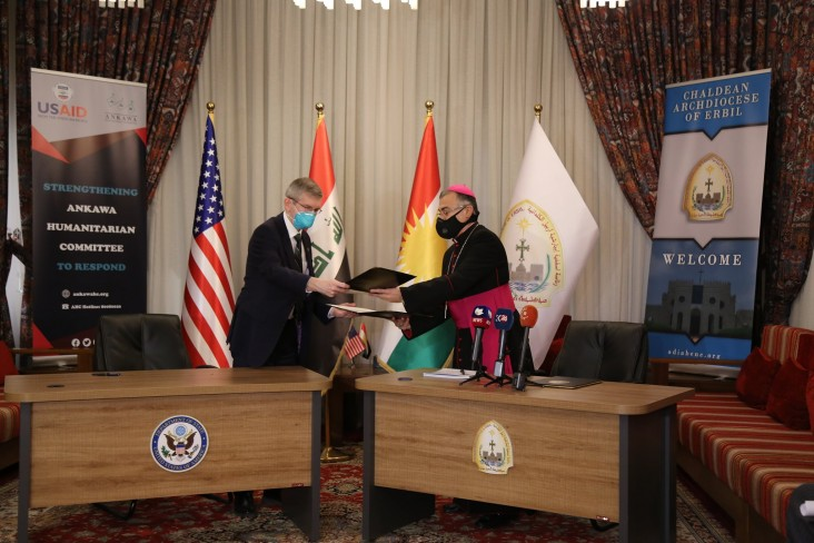 Consul General Rob Waller and Archbishop Bashar Warda of Erbil at the project signing ceremony