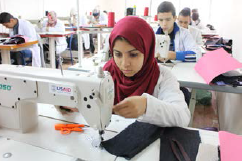 A sewing class offered as part of the FORSATY Program's vocational training program.
