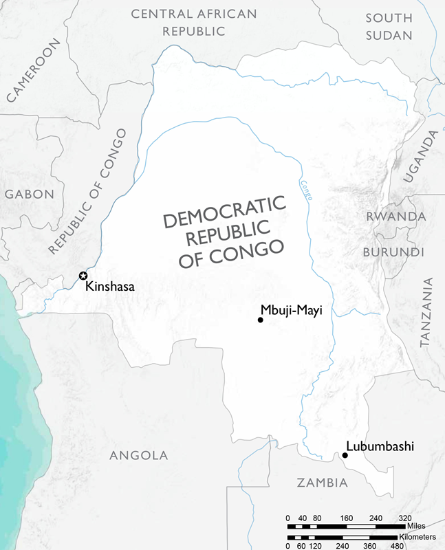 Map of the Democratic Republic of Congo