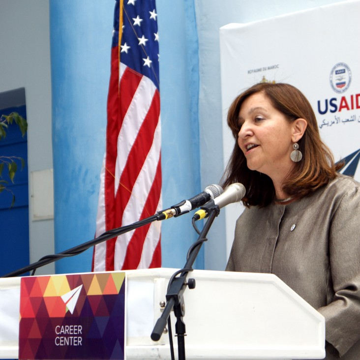 Mission Director Dana Mansuri addresses the crowd at the opening of the USAID Career Center at Abdelmalek Essaadi University in