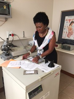 Ms. Rachel Mokhondo (Research Assistant, University of Pretoria & MRC) works to develop the Red Congo Dot Test, an easy and effective way to detect early cases of pre-eclampsia
