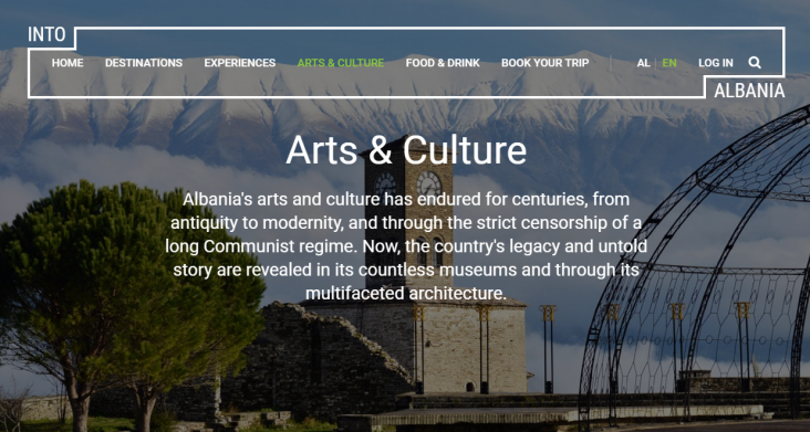 A view of the Arts and Culture page on the IntoAlbania.com website.