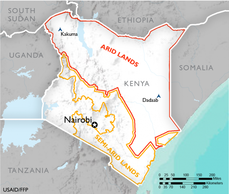May of Kenya, showing the capital of Nairobi and surrounding countries with indication of the Arid and Semi-Arid Lands