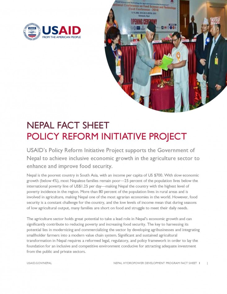 FACT SHEET: Policy Reform Initiative (PRI) Project