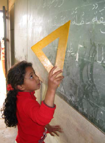 A student in a reading class activity in a Moroccan primary school.