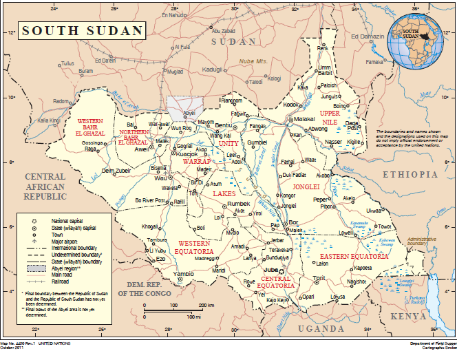 Country map of South Sudan