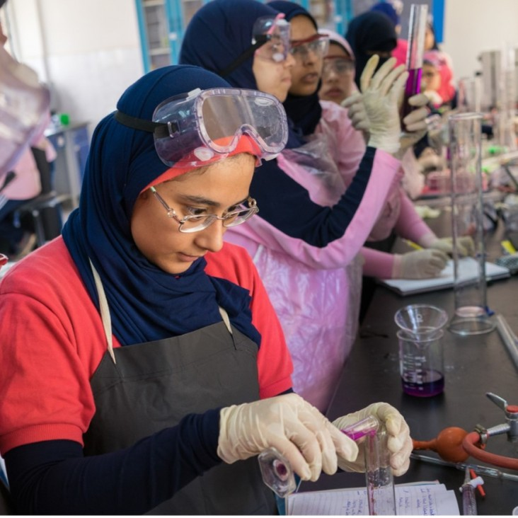 Maadi STEM School for Girls student in chemistry lab