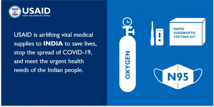 USAID is airlifting vital medical supplies to India to save lives, stop the spread of COVID-19, and meet the urgent medical needs of the Indian people.