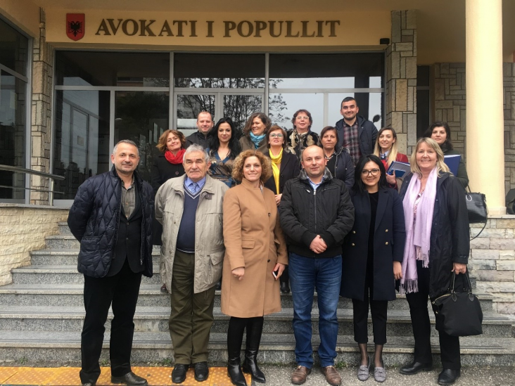 USAID project staff and representatives of Albania's Ombudsman office in front of the Office of the People's Advocate
