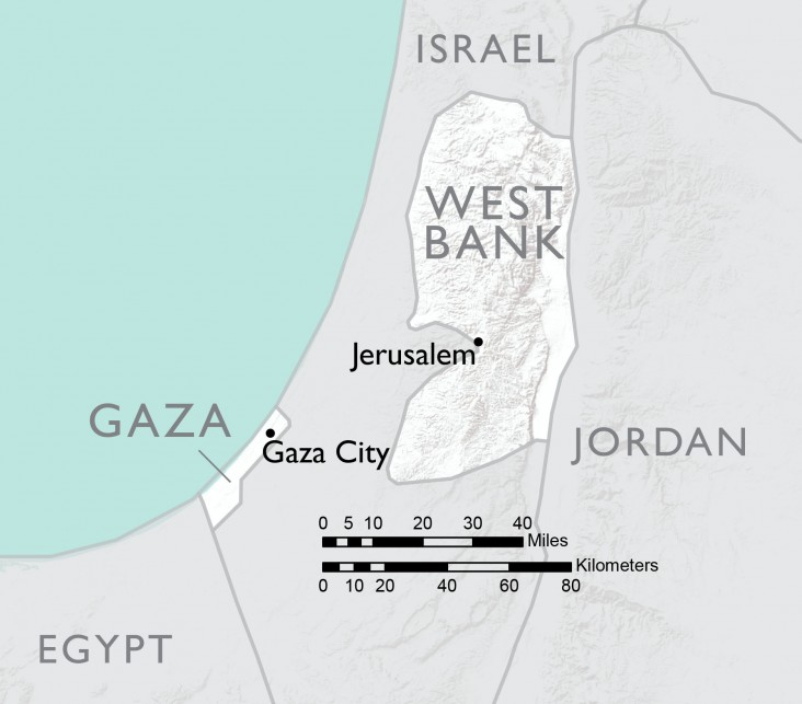 Map of West Bank and Gaza
