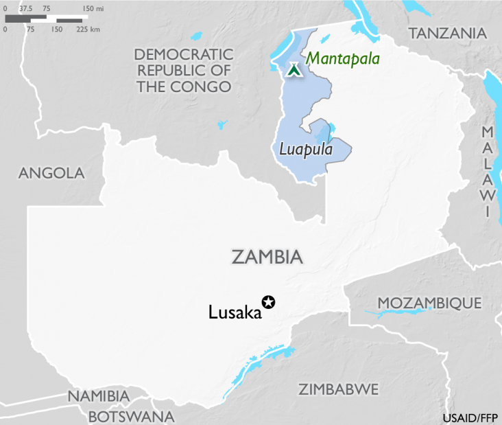 Map of Zambia showing the Mantapala refugee camp in Luapula