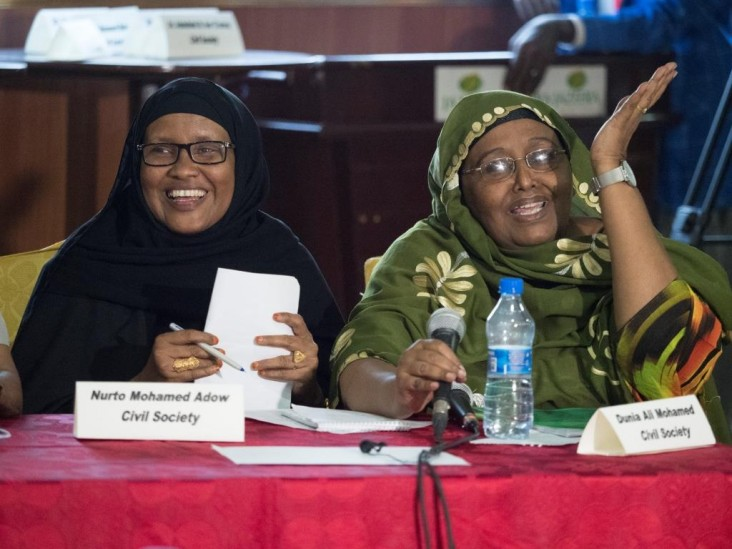 Somali ladies in civil society advocating for education at the first budget hearing ever held in Somalia.