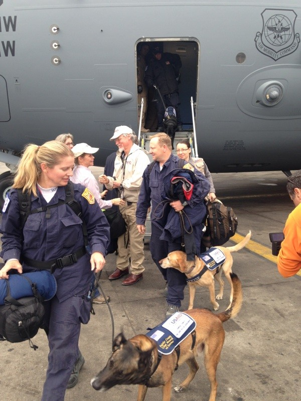 USAID Disaster Assistance Response Team (DART) arriving in Kathmandu, Nepal