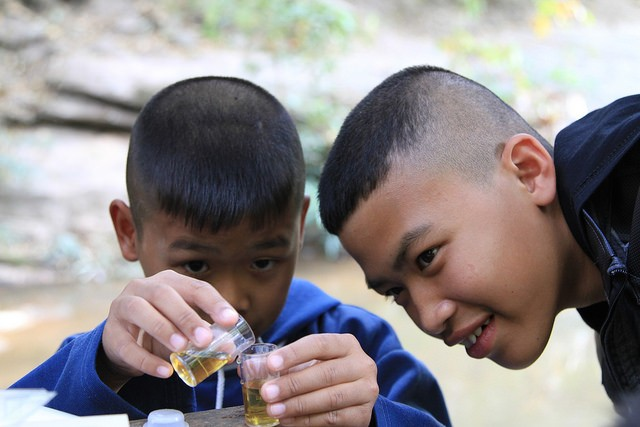 USAID Asia project teaches students in Chiang Mai, Thailand about river ecosystems.