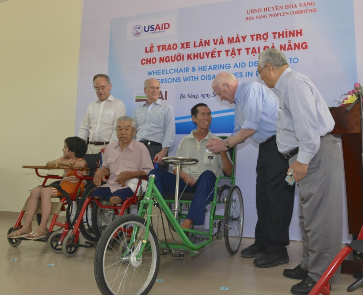 USAID distributes wheelchairs and hearing aid devices to persons with disabilities in Danang.
