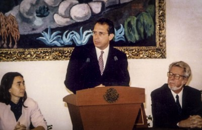 President Ernesto Zedillo (C) announces the creation of the Mexican Conservation Fund in May 1994.