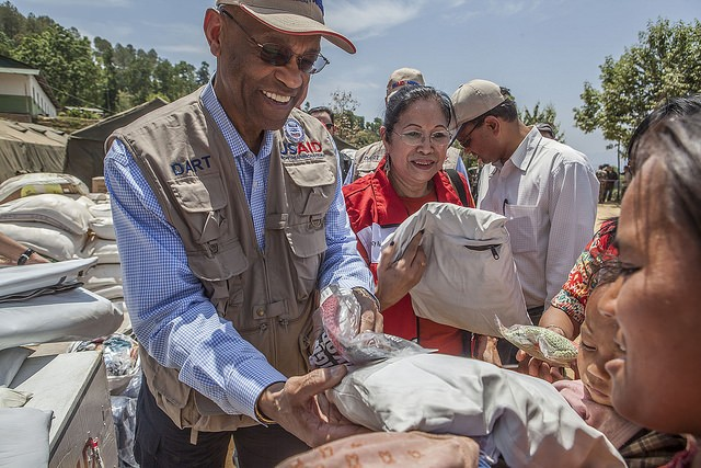 USAID Acting Administrator Alfonso E. Lenhardt distributes baby packs and hygiene kits in Sindhupalchowk, Nepal