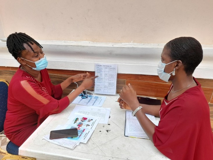 Health care worker training a colleague in primary health care in Agbowo, Oyo State, Nigeria