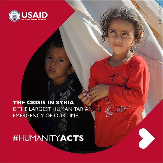The crisis in Syria is the largest humanitarian emergency of our time. #HumanityActs Credit: Bulent Kilic / AFP