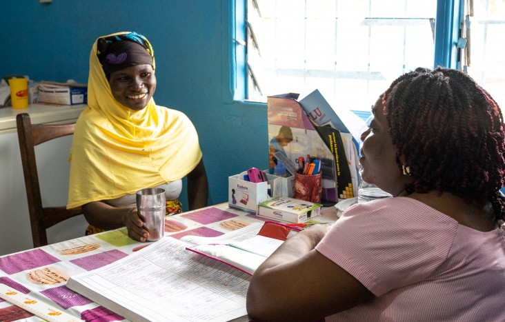 A pregnant woman receives treatment to protect her from malaria