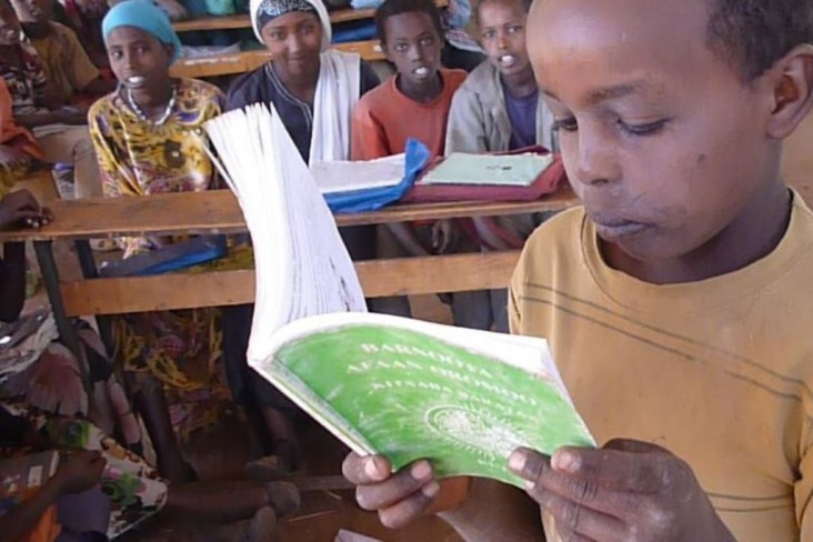 A child practices reading at the Jibo alternative basic education center in Darolebu Woreda, Oromia Region. The education center