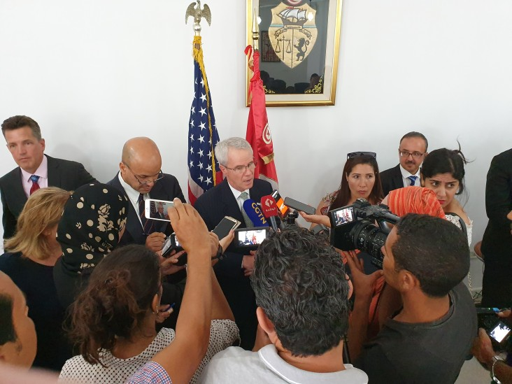 Middle East Bureau Assistant Administrator Mike Harvey speaks with local media after he announced USAID is upgrading its presence in Tunisia to a full-scale bilateral USAID Mission and the signature of a five-year Development Objective Agreement (DOAG) with the Government of Tunisia August 28, 2019.