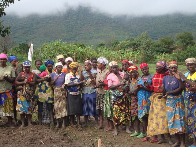 At this USAID-supported women's association, they learn to plant new crops, such as eggplant, beans, and kale.