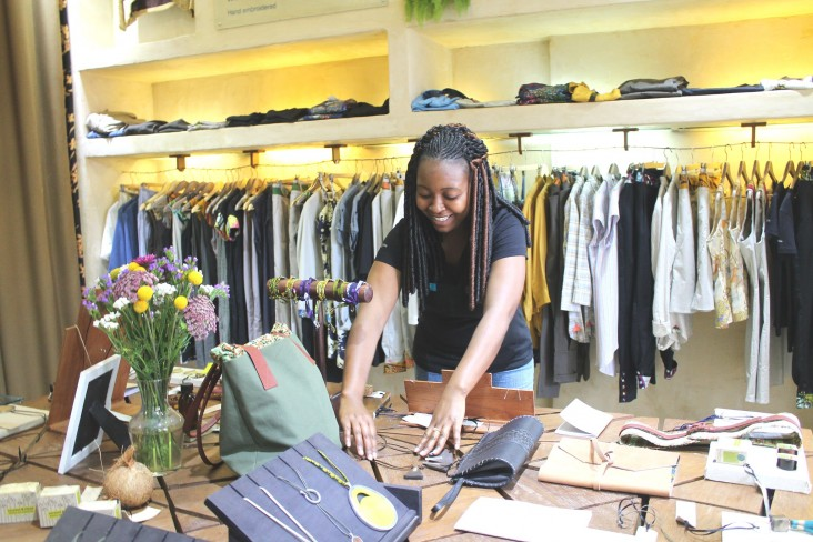 Rwandan designs and products fill the displays in Nairobi's Mille Collines store.