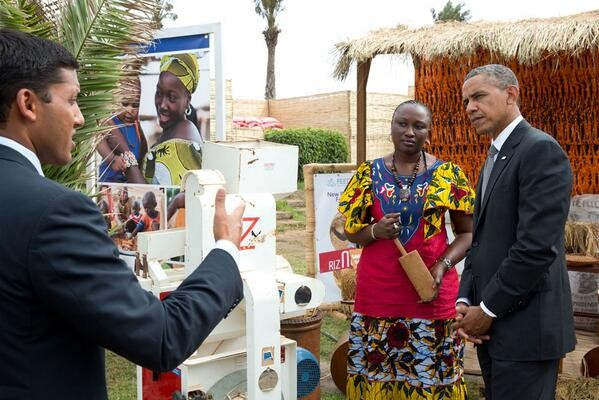President Barack Obama with Administrator Shah at the Feed the Future Technology Marketplace in Senegal.