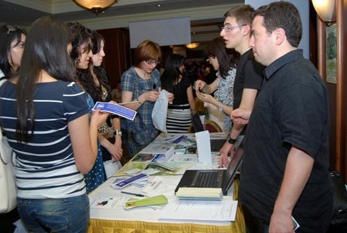 Albania's Yerevan State University Career Center provides counseling at the Youth Career Fair.