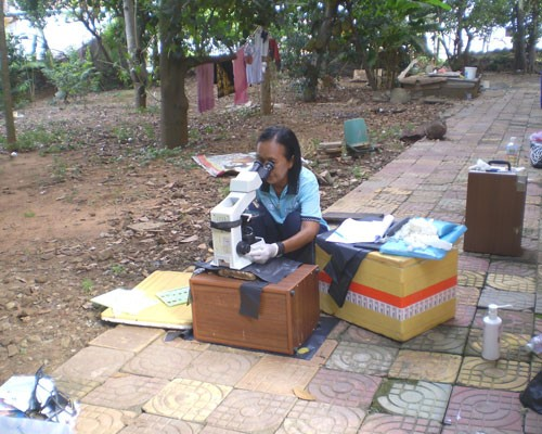 Stool samples are analyzed in Kampong Cham.