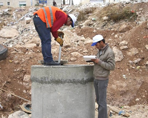 Workers conduct survey of water infrastructure in Zarqa.