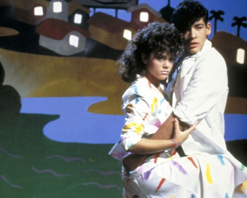 Tatiana and Johnny, two of the most popular singers in Mexico in the mid-1980s, perform on the set of a music video for one of t