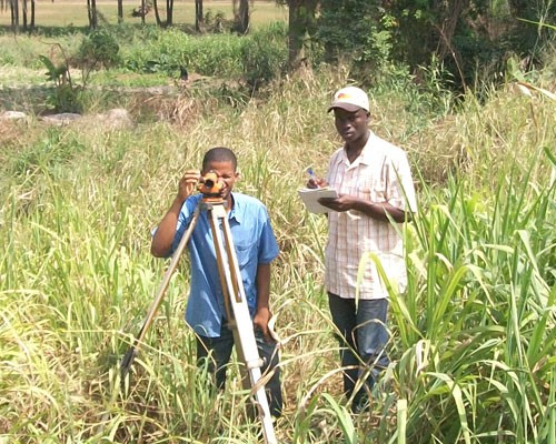 Students at the Kwame Nkrumah University of Science and Technology in Ghana level the instrument as part of field work. Accurate