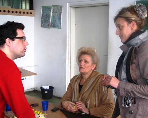 Goran Macanovic discusses the importance of Braille education with his two training partners, Zorica Toncic Vucinic, center, and