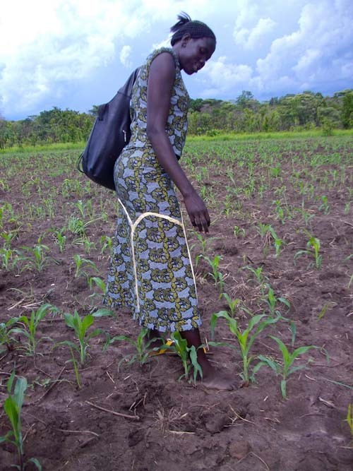 Esther Dima Kidden, an agriculture extension officer in Yei County, South Sudan, uses her foot to measure correct spacing betwee