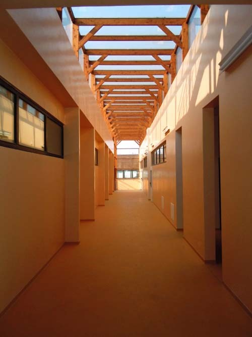 The light corridor, maximizing natural light and heat.