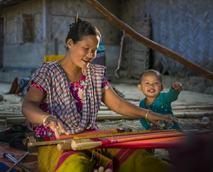 USAID-funded training in weaving helped Chiro Debi supplement her family's income from farming.
