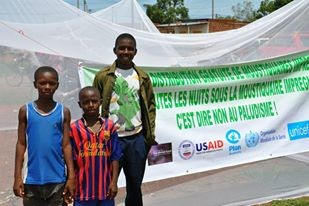 Burkinabe boys stand in front of a giant Insecticide Treated Net