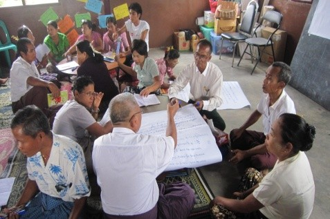 group of people in Burma in conversation around a table