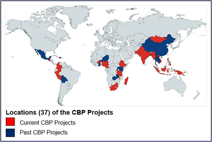 Locations of the CBP projects