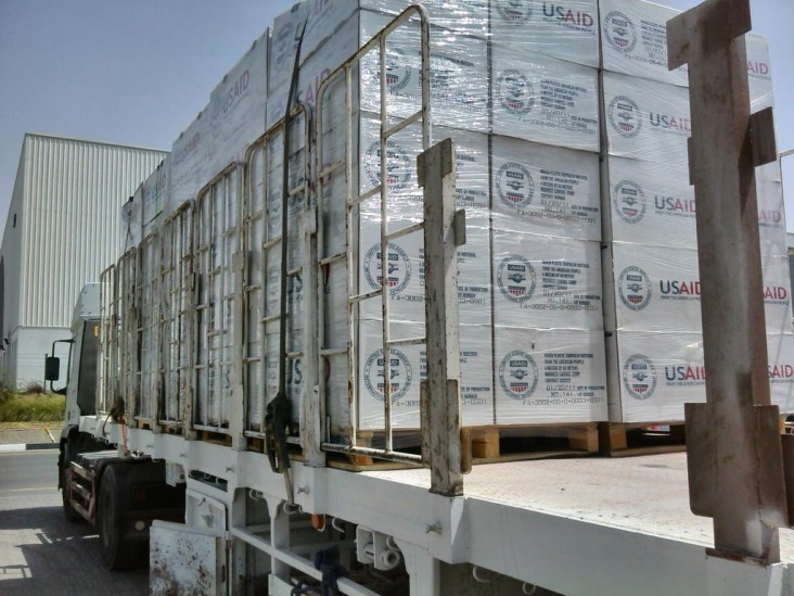 USAID/OFDA is airlifting 700 rolls of heavyduty plastic sheeting to address critical shelter needs for up to 35,000 peopl