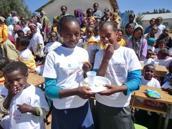 Girls tasting cheese during the School Milk Day event at the Wushawushign Primary School in the Amhara Region.