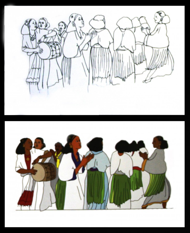 On the top is an artist's original sketch. Below that is the same drawing after rendering on the computer.