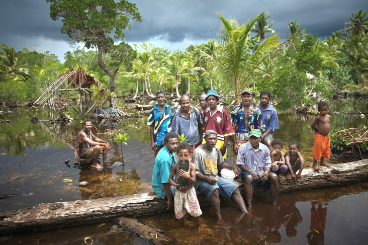 Community members of Lopahan show off shoots from their mangrove nursery.