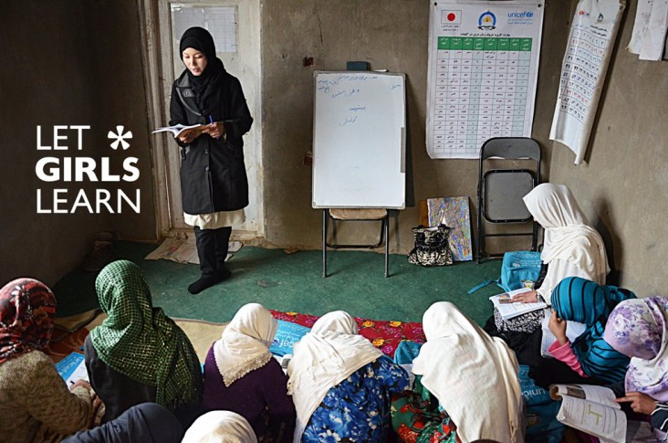 Let Girls Learn - A teacher gives a lesson to students