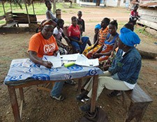 Project staff conduct focus group discussion with trained traditional midwives.